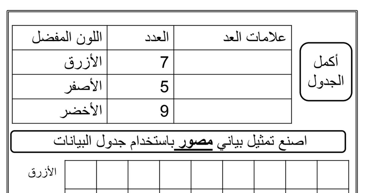 37 ورقة عمل رياضيات الصف الأول الفصل الثالث