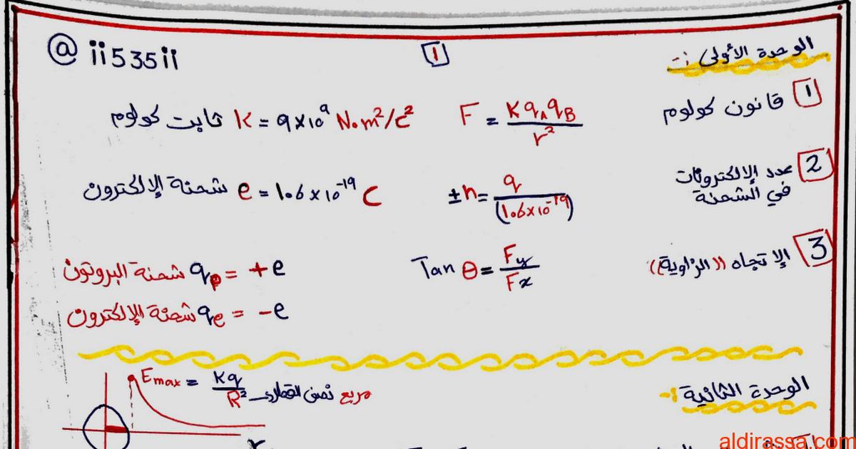 أهم قوانين الوحدة الأولى والثانية والثالثة فيزياء الصف الثانى عشر متقدم الفصل الاول
