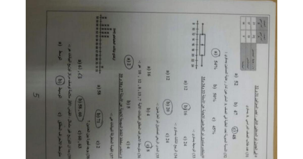 ورقة عمل مع الإجابات رياضيات للصف الثامن الفصل الثالث