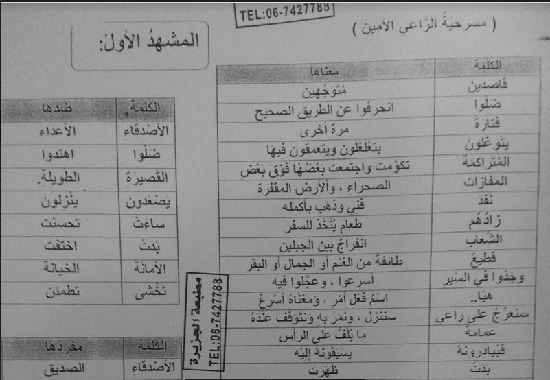 الراعي  الأمين تطبيقات عربي للصف السابع الفصل الثاني