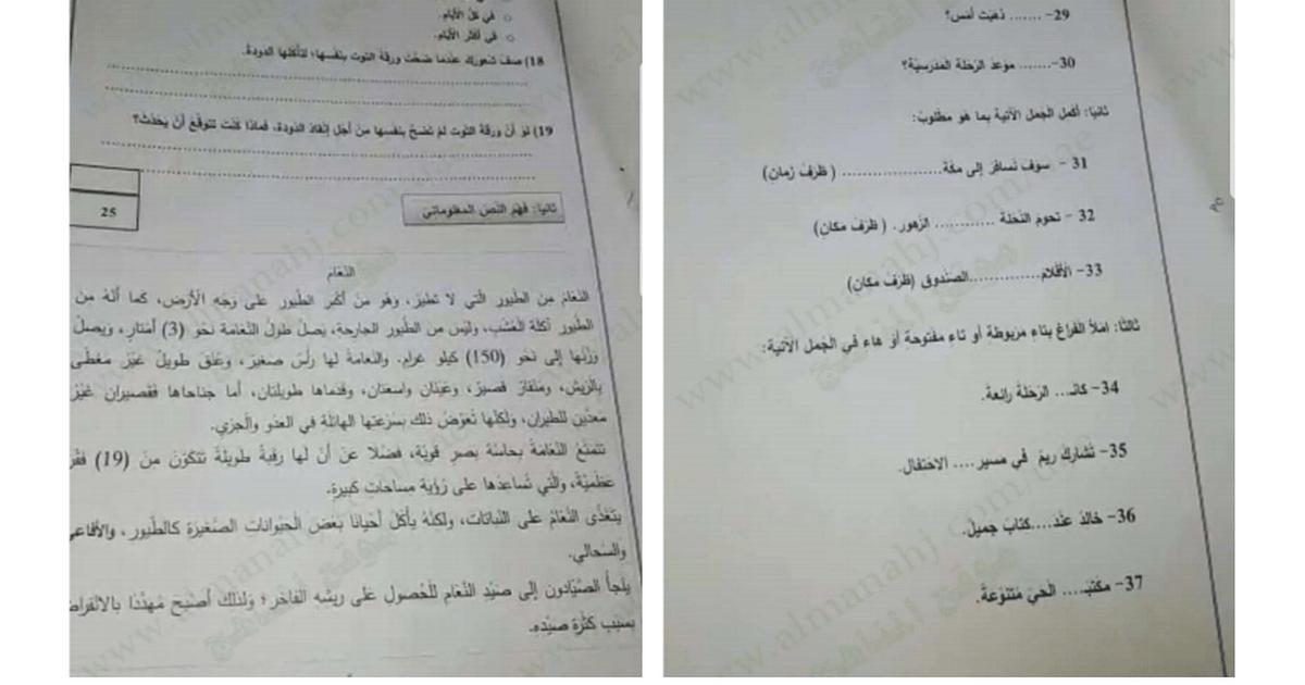 امتحان نهاية الفصل الثاني 2018 لغة عربية الصف الثانى