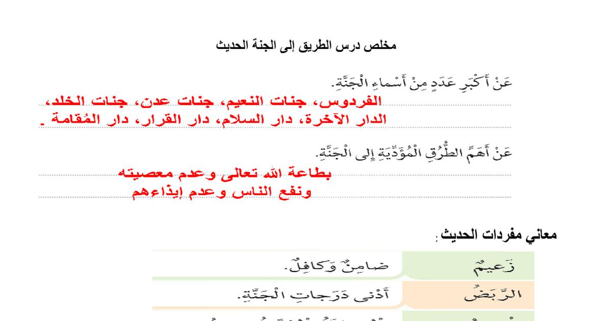 ملخص لدرس الطريق إلى الجنة تربية إسلامية الصف الخامس الفصل الثالث