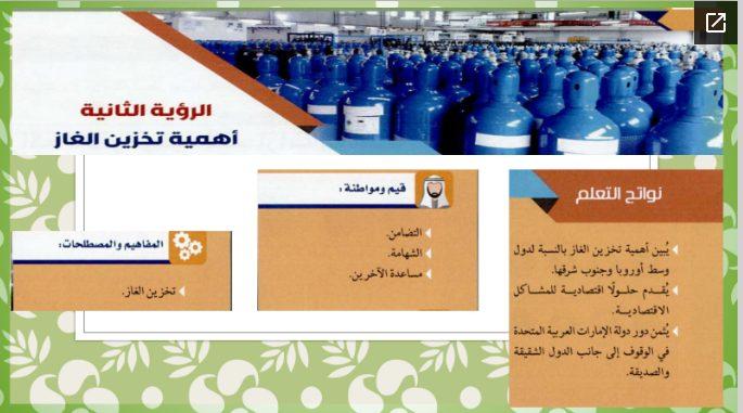 حل الرؤية الثانية (أهمية تخزين الغاز) دراسات اجتماعية الصف العاشر الفصل الثالث