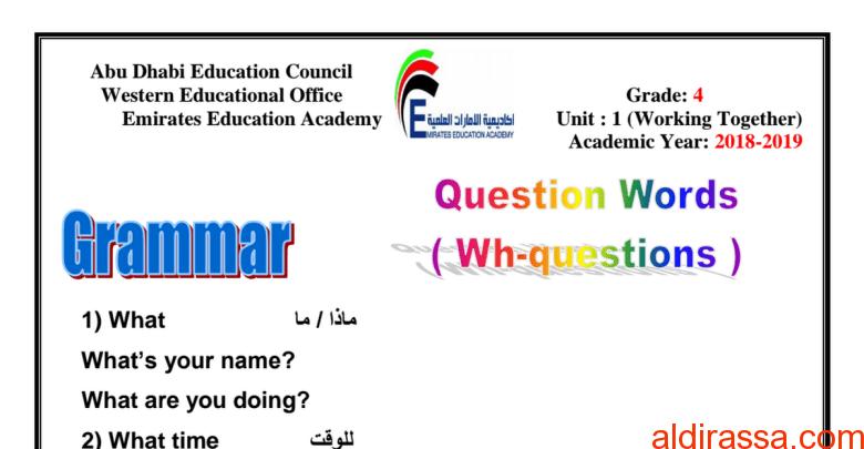 الصف الرابع  لغة إنجليزية قواعد الوحدة الأولى  الفصل الاول