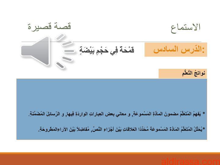 الصف السابع الفصل الثاني حلول لغة عربية درس قمحة في حجم بيضة