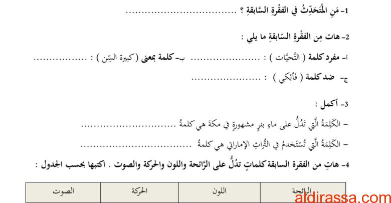 الفصل الاول لغة عربية نموذج امتحان  الصف الرابع