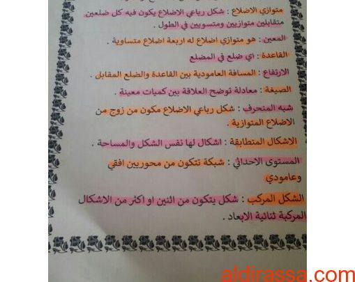 مذكرة رياضيات وحدة المساحة الصف السادس الفصل الثالث