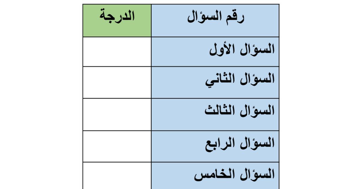 نماذج اختبارات لغة عربية الفصل الاول الصف الثالث