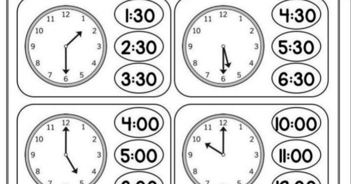 ورقة عمل الساعة الرياضيات المتكاملة للصف الأول الفصل الثالث