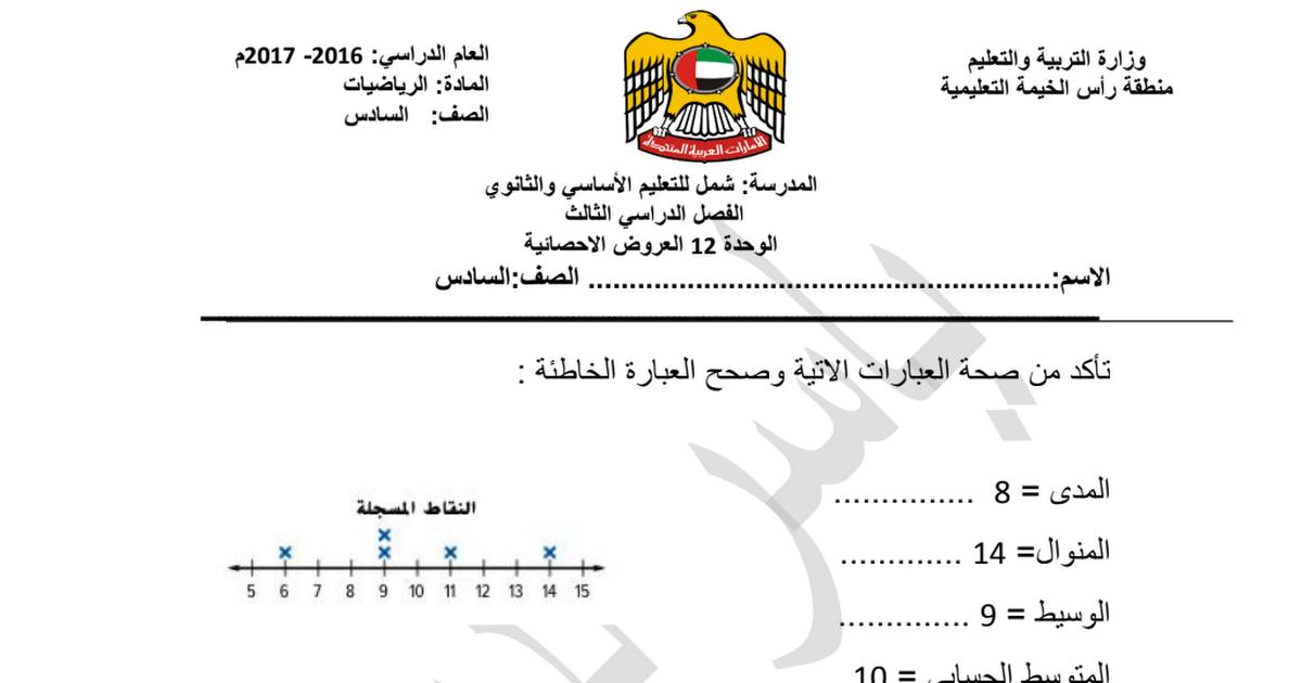 ورقة عمل العروض الإحصائية رياضيات للصف السادس الفصل الثالث