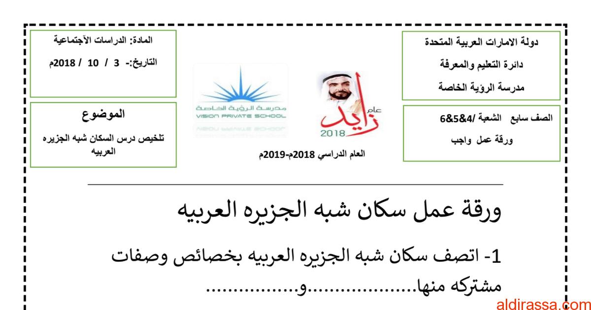 ورقة عمل سكان شبه الجزيرة العربية دراسات اجتماعية الصف السابع الفصل الاول