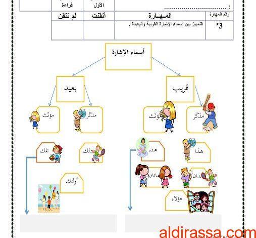 ورقة عمل لغة عربية الصف الاول الفصل الثالث