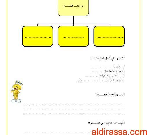 ورقة عمل من آداب الطعام تربية إسلامية الصف الثانى الفصل الثاني