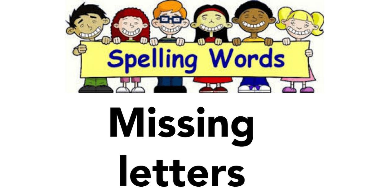 ورقة عمل (Missing letters) اللغة الإنجليزية للصف الأول